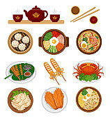 Set of asian food. Chinese and Korean cuisine.
