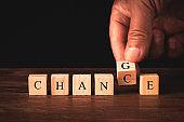 word change written in wooden cubes