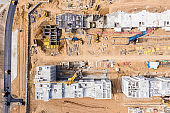 top view of construction site. development of new residential area. drone photo