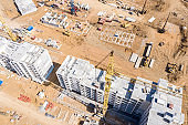 city construction site. aerial top view