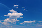 Blue sky with white clouds. Environmental background.