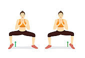 Woman doing Sumo Squat With Calf Raises switch sides.