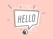 Hello with white speech bubble on pink background. Loudspeaker. Banner for business, marketing and advertising