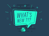 What's new. Futuristic speaker with speech bubble. Loudspeaker. Everything built on layers and editable shapes. stock illustration stock illustration