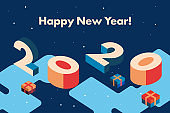 2020 Happy New Year. Creative Greeting Card with inscription Happy New Year and Geometric Isometric Numbers 2019. Gift Box Snowflakes. Hipster Color Vector Illustration. Holiday Poster Design.