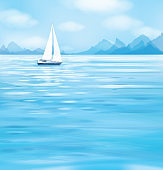 Vector blue sea scape with yacht.