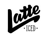Iced Latte logotype with typography and handwritten lettering isolated on white background. Vector illustration for coffee shop, cafe menu. Design template
