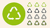 Recycling Garbage Triangle Arrows Eco Symbol. Minimal Flat Line Outline Stroke Icon Set.