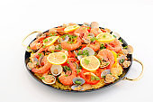 Delicious paella in pan