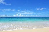 beatiful beach and summer sky