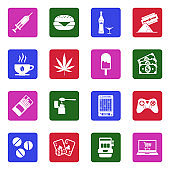 Addiction And Bad Habits Icons. White Flat Design In Square. Vector Illustration.