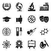 Academy Icons. Black Flat Design. Vector Illustration.