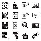 QR Code Icons. Black Flat Design. Vector Illustration.