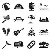 Summer Camp Icons. Black Flat Design. Vector Illustration.