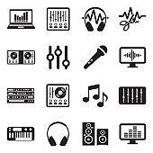 Music Production Icons. Black Flat Design. Vector Illustration.