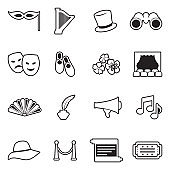 Theater Icons. Line With Fill Design. Vector Illustration.