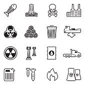 Pollution Icons. Line With Fill Design. Vector Illustration.