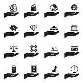Investment Icons. Set 3. Black Flat Design. Vector Illustration.