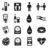 Cholesterol Icons. Black Flat Design. Vector Illustration.