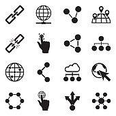 Link Icons. Black Flat Design. Vector Illustration.