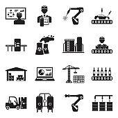 Industrial Process Icons. Black Flat Design. Vector Illustration.