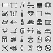 Fitness And Gym Icons. Sticker Design. Vector Illustration.