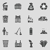 Garbage Icons. Sticker Design. Vector Illustration.