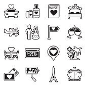 Honeymoon Icons. Line With Fill Design. Vector Illustration.