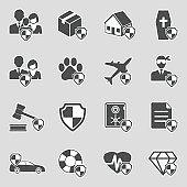 Insurance Icons. Sticker Design. Vector Illustration.