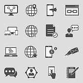 Internet Marketing Icons. Sticker Design. Vector Illustration.