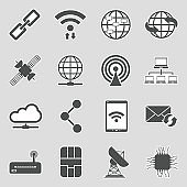 Connection Icons. Sticker Design. Vector Illustration.