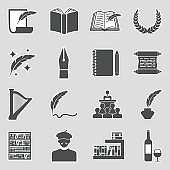 Poetry Icons. Sticker Design. Vector Illustration.