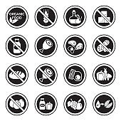 Types Of Diets Icons. Line With Fill Design. Vector Illustration.
