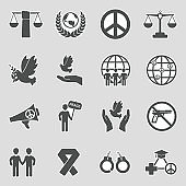Human Rights Icons. Sticker Design. Vector Illustration.