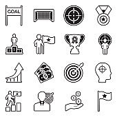 Goal Icons. Line With Fill Design. Vector Illustration.