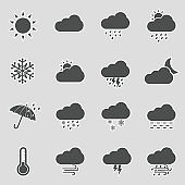 Weather Icons. Sticker Design. Vector Illustration.