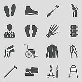 Orthopedic Icons. Sticker Design. Vector Illustration.