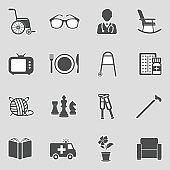 Nursing Home Icons. Sticker Design. Vector Illustration.