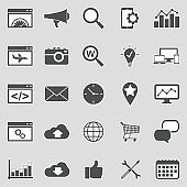 Search Engine Optimization Icons. Sticker Design. Vector Illustration.