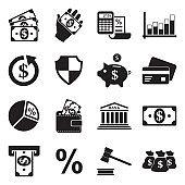 Finance Icons. Set 2. Black Flat Design. Vector Illustration.