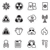 Biohazard Icons. Line With Fill Design. Vector Illustration.
