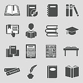 Books And Education Icons. Sticker Design. Vector Illustration.