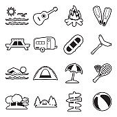 Summer Camp Icons. Line With Fill Design. Vector Illustration.