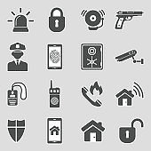 Security Icons. Sticker Design. Vector Illustration.