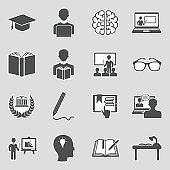 Learning Icons. Sticker Design. Vector Illustration.