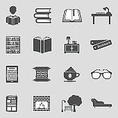 Reading Icons. Sticker Design. Vector Illustration.