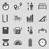 Measurement Icons. Sticker Design. Vector Illustration.
