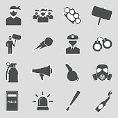 Protest And Demonstration Icons. Sticker Design. Vector Illustration.