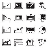 Statistic Icons. Line With Fill Design. Vector Illustration.