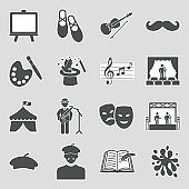 Artist Icons. Sticker Design. Vector Illustration.
